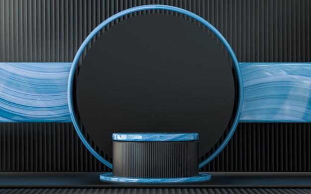 Fundo geométrico abstrato azul escuro com exibição de pódio renderização em 3d