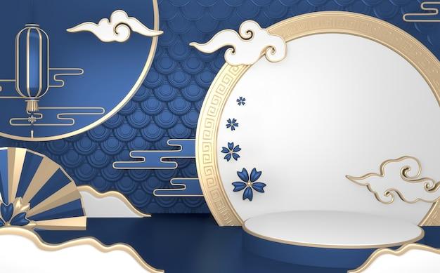 Fundo geométrico abstrato azul, estilo japonês pódio conceito azul. renderização 3d