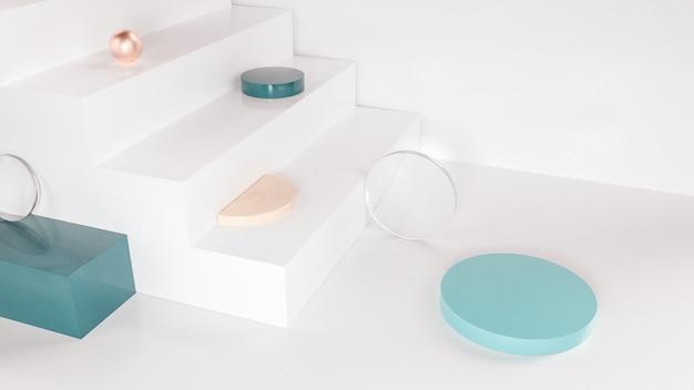 Fundo geométrico abstrato com escada para exibir o produto