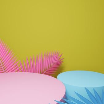 Fundo geométrico abstrato do pódio, modelo vazio minimalista em branco da mostra, exposição da loja do art deco, cores pastel. 3d rendem.