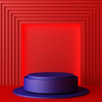 Fundo geométrico abstrato mínimo com luz solar direta em tons de vermelho e azul. showcase scene com pódio vazio para apresentação do produto renderização em 3d