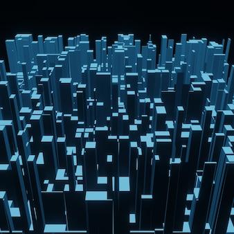 Fundo geométrico de pixel quadrado 3d abstrato, padrão de cubo ou textura de bloco para projeto de arquitetura