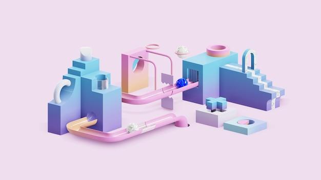 Fundo geométrico de renderização 3d abstrato