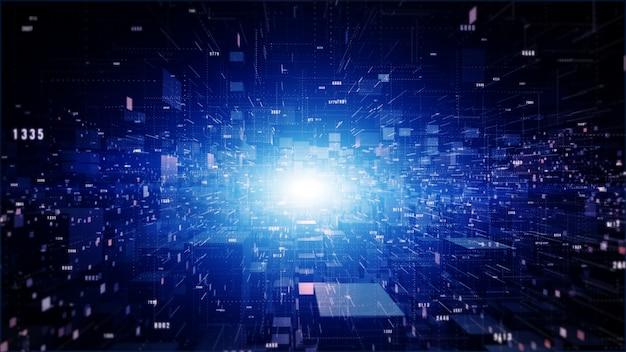 Fundo geométrico do ciberespaço digital com partículas e conexões de rede de dados digitais.