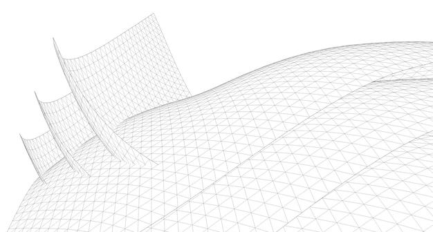 Fundo geométrico, esboço abstrato, arquitetura, construção, estrutura de arame
