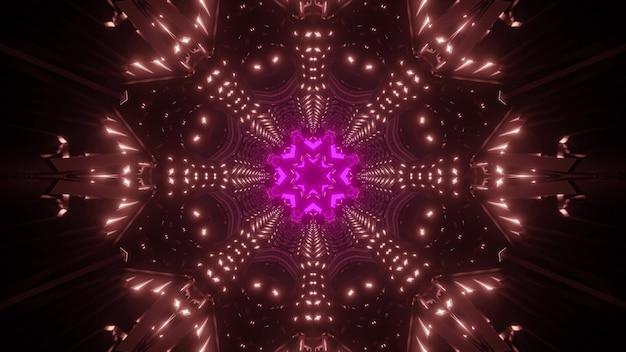 Fundo geométrico futurista abstrato com ornamento de caleidoscópio brilhante formando a ilusão de perspectiva de túnel em luzes de néon coloridas