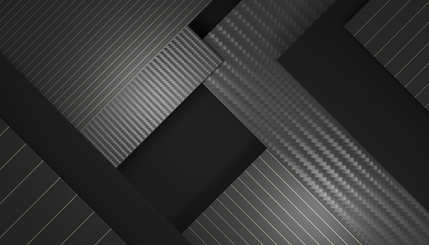 Fundo geométrico preto e fibra de carbono