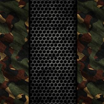 Fundo grunge 3d com texturas de metal e camuflagem