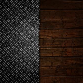 Fundo grunge com texturas de madeira e metal