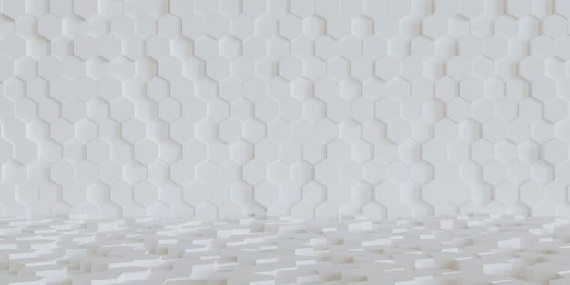 Fundo hexagonal branco abstrato 3d, papel de parede em forma de hexágono