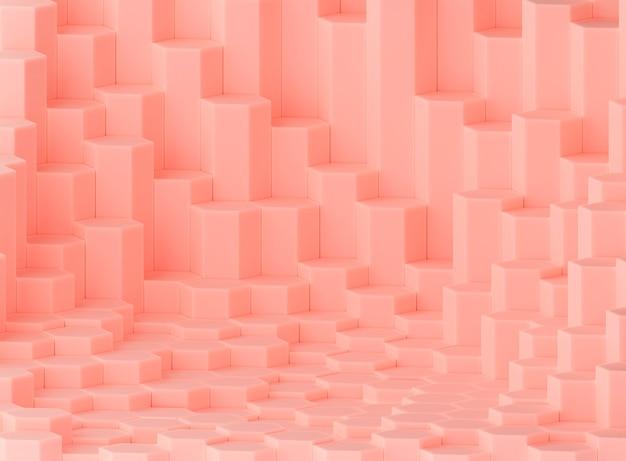 Fundo hexagonal, cor de pêssego, vitrine do produto, renderização 3d