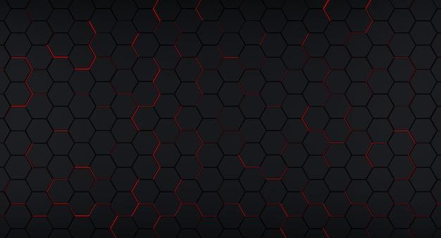 Fundo hexagonal escuro com flashes vermelhos embaixo