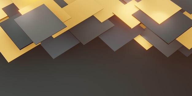 Fundo hierárquico ladrilhos geométricos dourados e pretos ilustração quadrada 3d abstrata