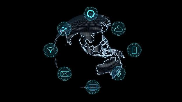 Fundo holográfico digital de tecnologia futurista