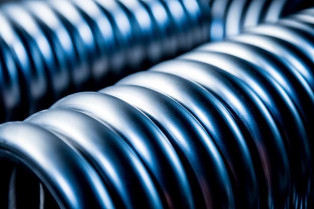 Fundo industrial de construção de tubos de metal.