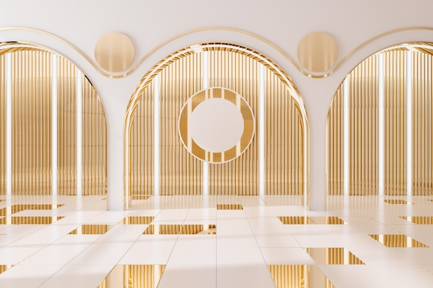 Fundo interior da parede dourada .3d render