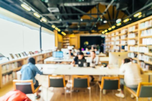 Fundo interior de biblioteca de borrão