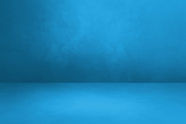 Fundo interior de concreto azul. cena de modelo vazio