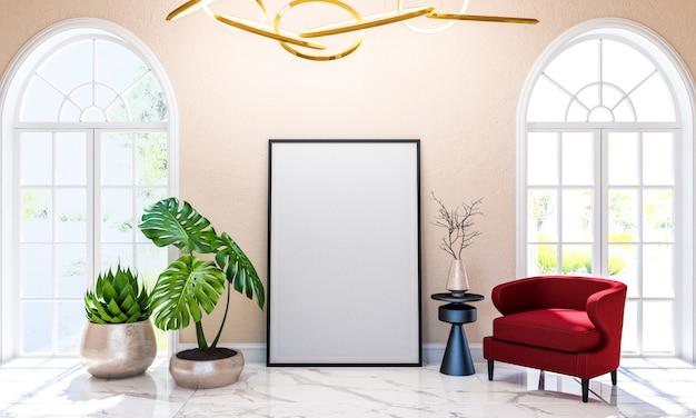 Fundo interior de sala de estar de luxo clássico moderno com mock up moldura de cartaz, renderização em 3d