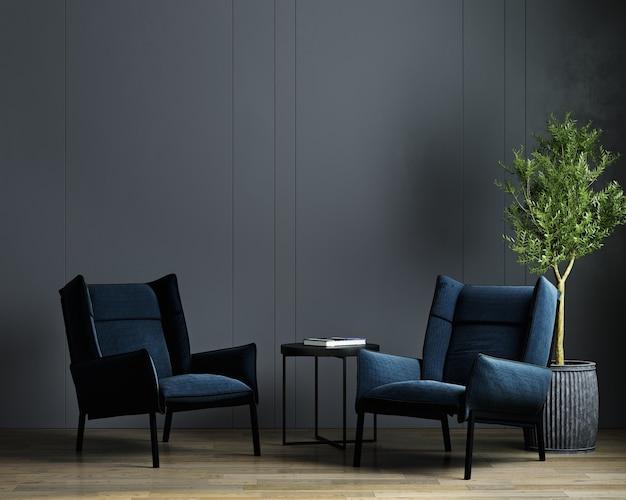 Fundo interior de sala de estar escura luxuosa moderna com poltrona azul, simulação de interior de sala escura
