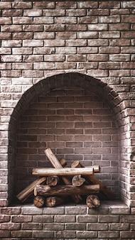 Fundo interior de tijolo com lareira a lenha