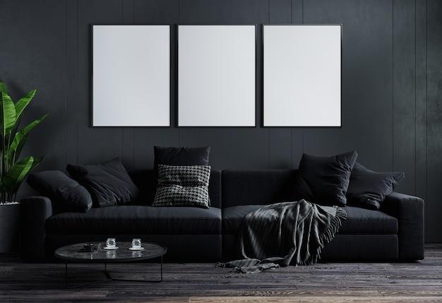 Fundo interior luxuoso de sala de estar escura de maquete, simulação de sala de estar, sala de estar moderna com sofá preto e planta, renderização em 3d