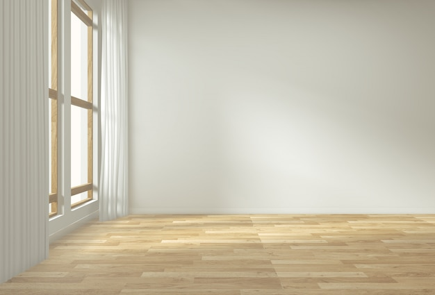 Fundo interior vazio, quarto com decoração mock up no assoalho de madeira