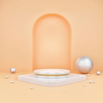 Fundo laranja vazio abstrato do pódio, cena para exposição do produto