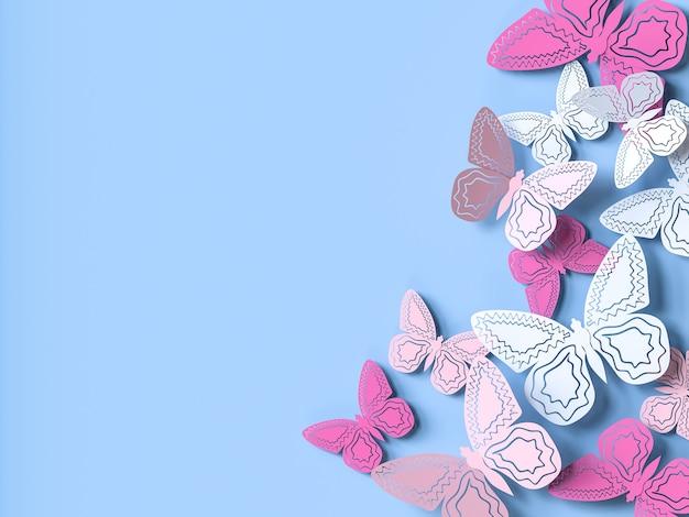 Fundo liso do recorte do papel da borboleta. ilustração 3d