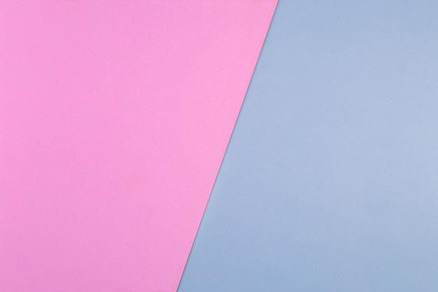 Fundo liso geométrico do papel da cor pastel azul e rosa. papel multicolorido. layout plano criativo com espaço de cópia.