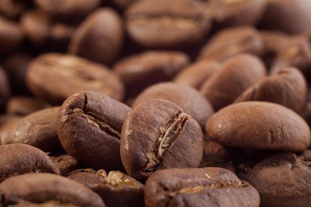 Fundo macro de grãos de café closeup
