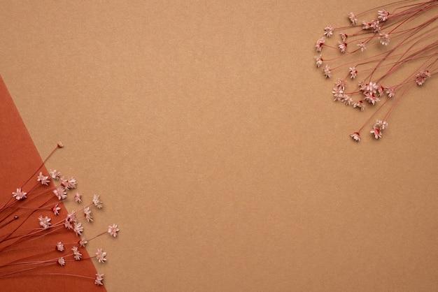 Fundo marrom com flores secas