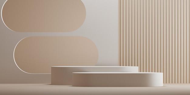 Fundo marrom pódio geométrico abstrato mínimo para apresentação do produto. ilustração de renderização 3d.