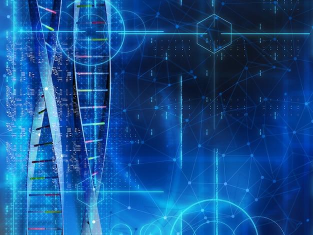 Fundo médico 3d com cadeias de dna e código