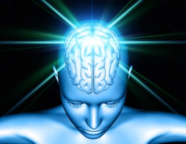 Fundo médico 3d com figura feminina com destaque do cérebro