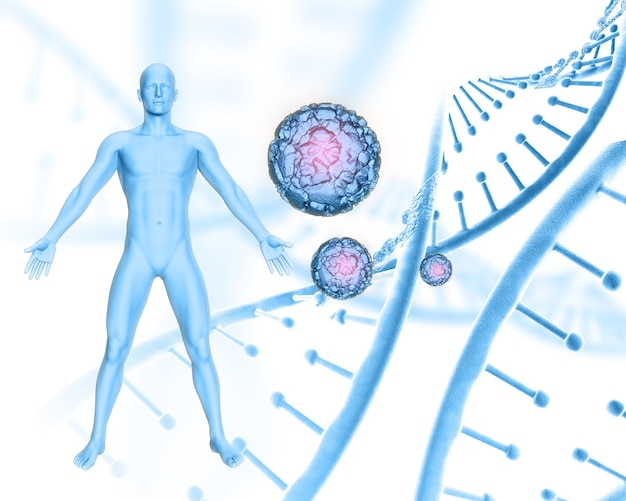 Fundo médico 3d com figura masculina em cadeias de dna e células de vírus