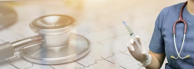 Fundo médico com enfermeiro