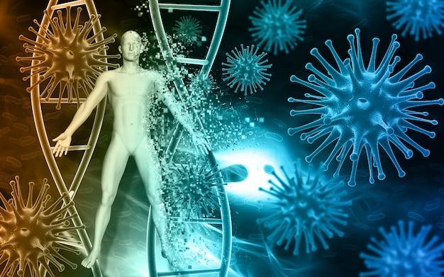 Fundo médico com sumário 3d células as células do vírus no sangue e figura pixelating masculino