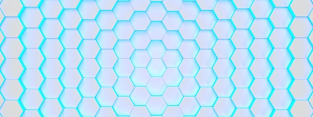 Fundo médico hexagonal brilhante azul