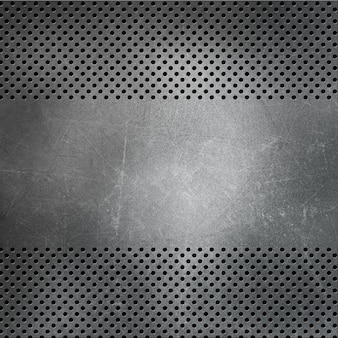 Fundo metálico perfurado com arranhões e manchas