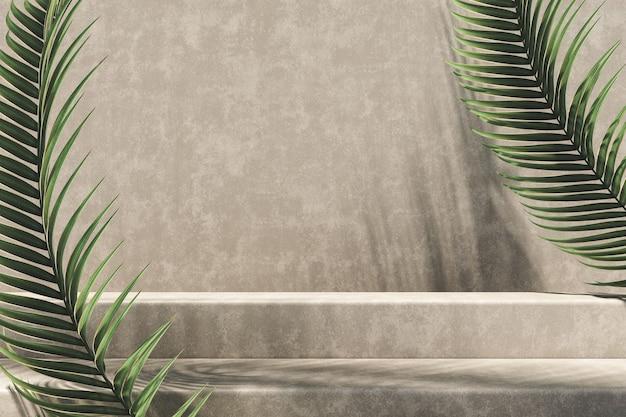Fundo minimalista para apresentação do produto, degrau e parede de cimento marrom claro, luz solar e sombra em folha de palmeira. renderização 3d