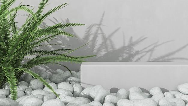 Fundo minimalista para apresentação do produto, plataforma branca em cascalho branco, samambaia e sombra na parede de cimento branco. renderização 3d.