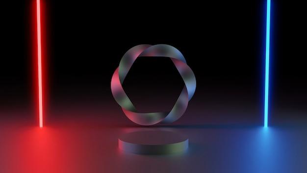 Fundo mínimo de renderização 3d, cena com pódio e luz de néon