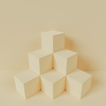 Fundo mínimo de renderização 3d, cena geométrica com pódio para exposição do produto.