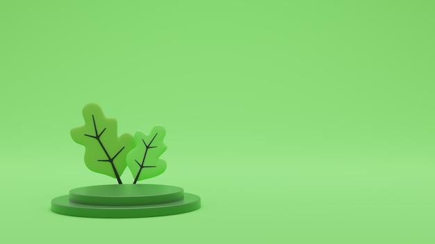 Fundo mínimo de renderização 3d, cena verde com pódio para exposição do produto. foto premium