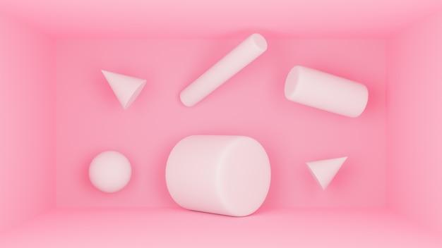 Fundo mínimo do estúdio do pódio alaranjado cor-de-rosa do cilindro 3d. a ilustração geométrica abstrata do objeto da forma 3d rende.