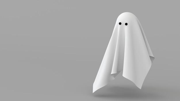Fundo mínimo folha fantasma tecido branco espírito renderização 3d