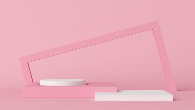 Fundo mínimo, mock-se cena com pódio para a exposição do produto. renderização em 3d