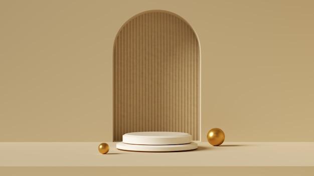 Fundo mínimo, simulação de pódio para exibição de produtos, forma de geometria branca abstrata
