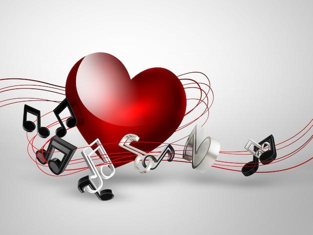 Fundo musical com coração e notas